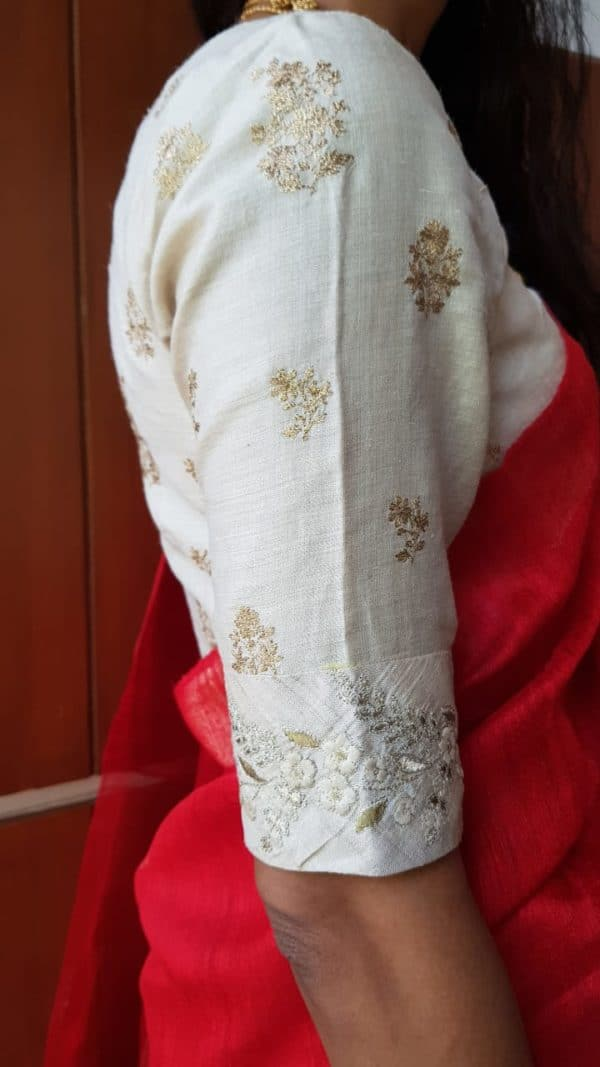 off white tussar embroidered blouse sleeve