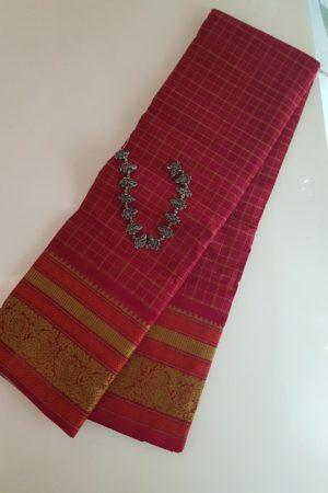 red kanchi cotton saree with kattam body