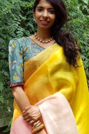 teal green and brown chanderi embroidered blouse