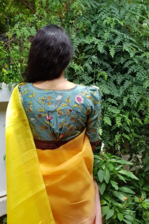 teal green and brown chanderi embroidered blouse back