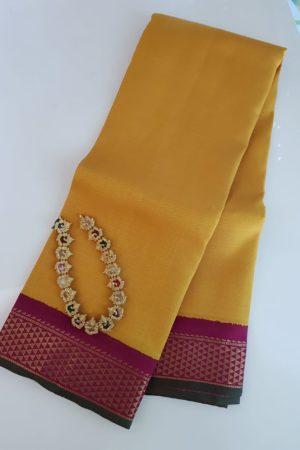 yellow korvai kanchi silk dupatta 1
