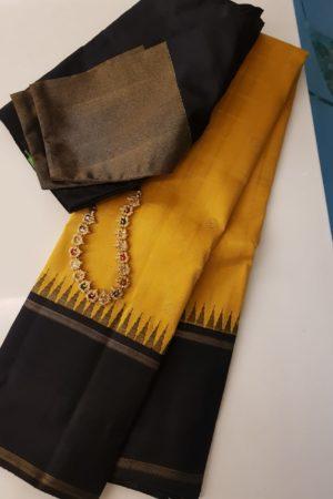yellow with black korvai border kanchipuram silk saree