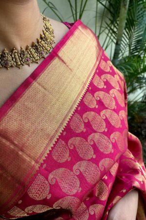 Arakku maroon bridal saree 2