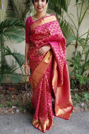 Arakku maroon bridal saree