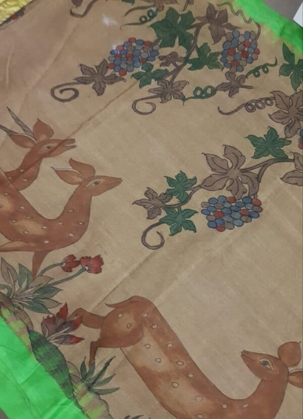 Beige with green border khadi saree with kalamkari