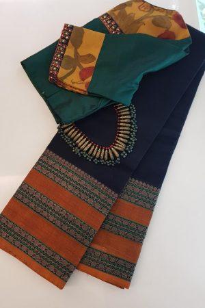 Black kanchi cotton saree