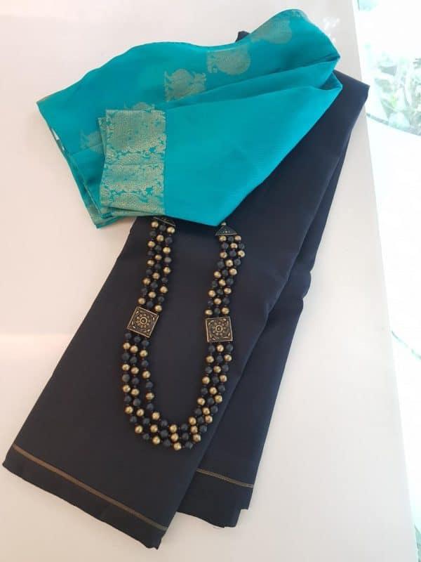 Black lavanyam plain kanchi silk saree