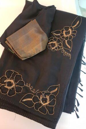 Black silk and organza embroidered saree