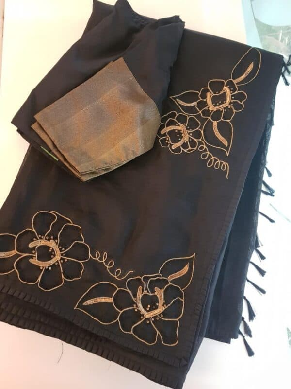 Black silk and organza embroidered saree