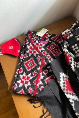 Black red and white ikat kurta