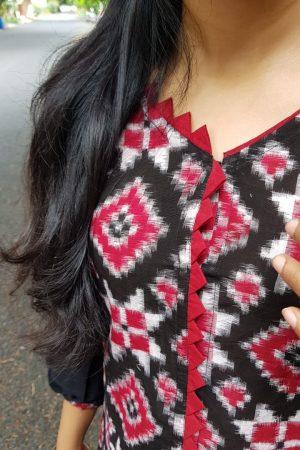 Black red and white ikat kurta2