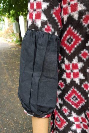 Black red and white ikat kurta3