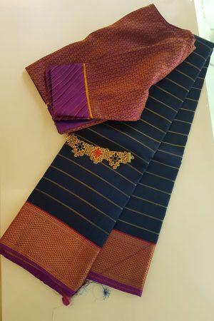 Blue kanchi silk saree with pink korvai border