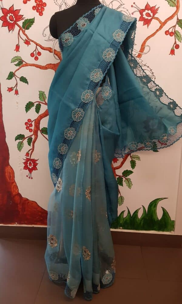 Blue organza and embroidered cutwork saree2