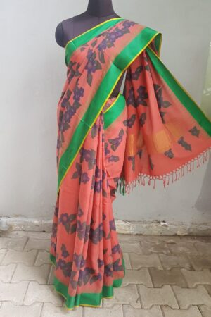Dark peach with green border khadi sari with kalamkari