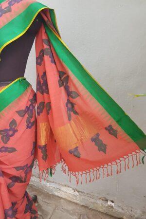 Dark peach with green border khadi sari with kalamkari