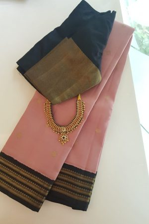 Dusty pink and black korvai border