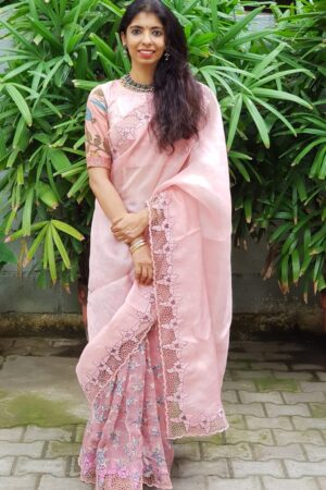 Dusty pink organza and embroidery cutwork saree2