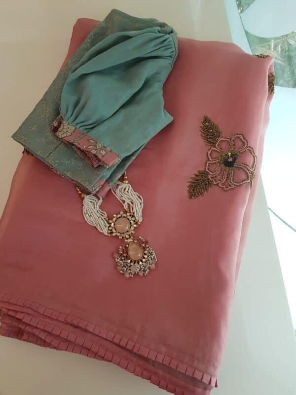Dusty pink silk and organza half and half