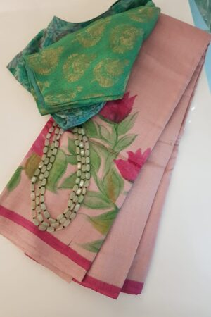 Dusty pink tussar saree with painted floral border