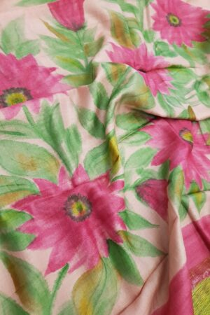 Dusty pink tussar saree with painted floral border1