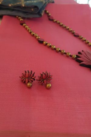 Golden beads with lotus pendant