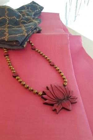 Golden beads with lotus pendant1