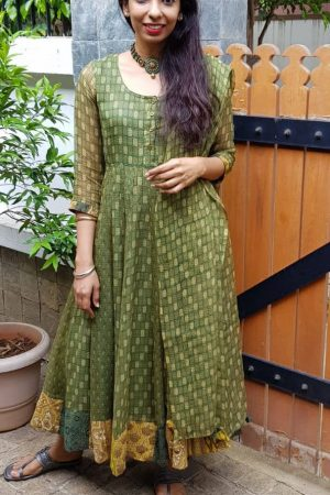 Green cotton kota anarkali
