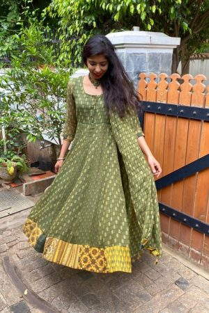 Green cotton kota anarkali1