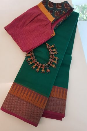 Green kanchi cotton saree with aramaadam border