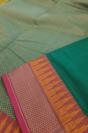 Green kanchi cotton saree with aramaadam border1