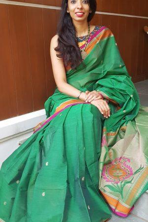 Green with mango pallu kanchi cotton saree