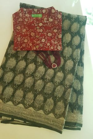 Greena and beige kota doriya saree