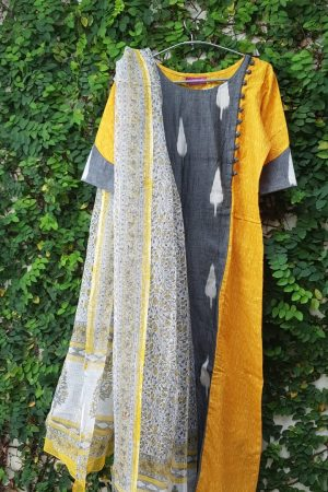 Grey ikat and mustard with kota dupatta2