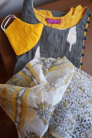 Grey ikat and mustard with kota dupatta3
