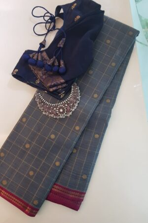Grey kanchipuram silk saree with zari checks