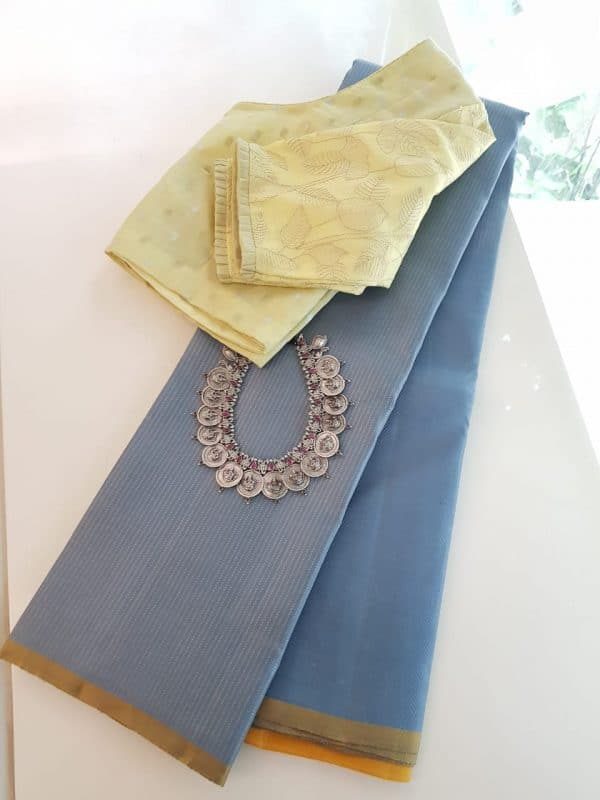 Grey rising border saree