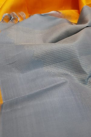 Grey rising border saree1