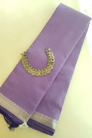Lilac kanchipuram saree with silver border