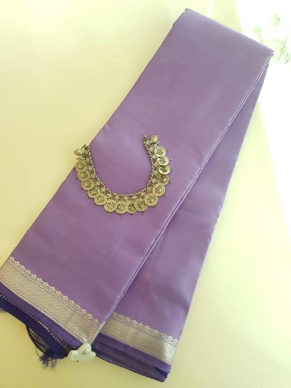 Lilac kanchipuram saree with silver border