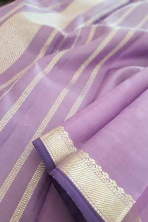 Lilac kanchipuram saree with silver border1