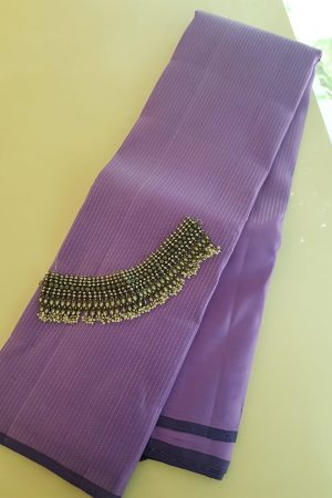 lilac rising border silk saree