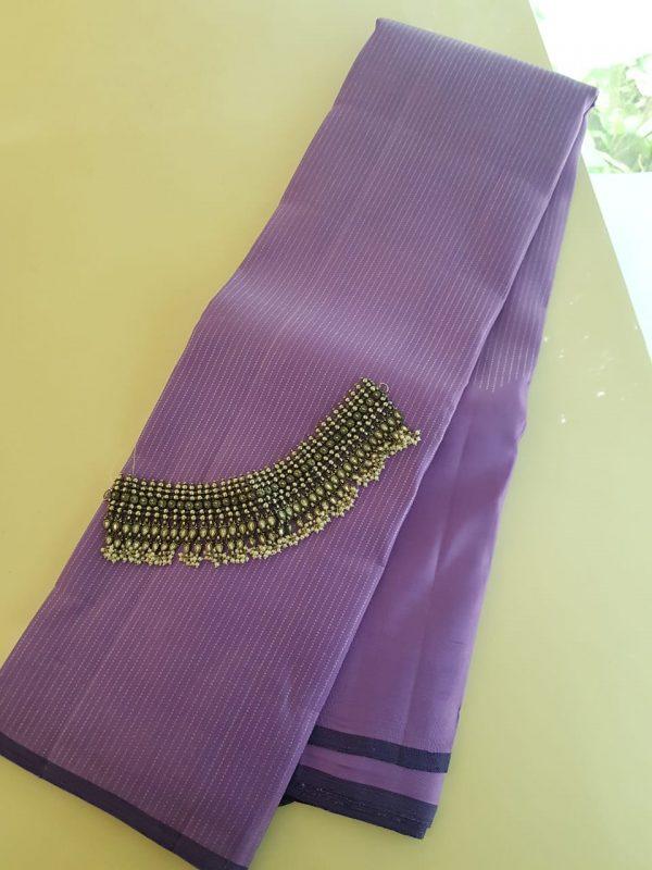 lilac rising border silk saree