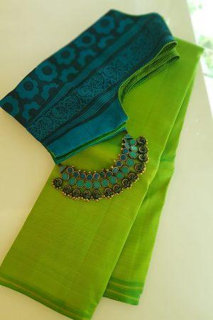 Lime green lavanyam plain kacnhi silk sri