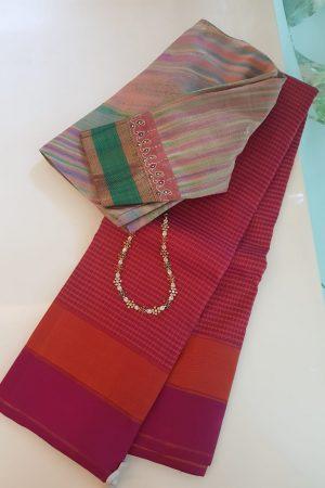 Majenta and orange kchecked kanchipuram silk saree