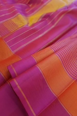 Majenta and orange checked kanchipuram silk saree2
