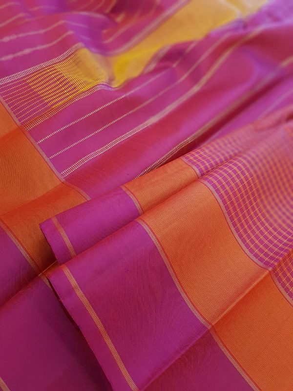 Majenta and orange checked kanchipuram silk saree2