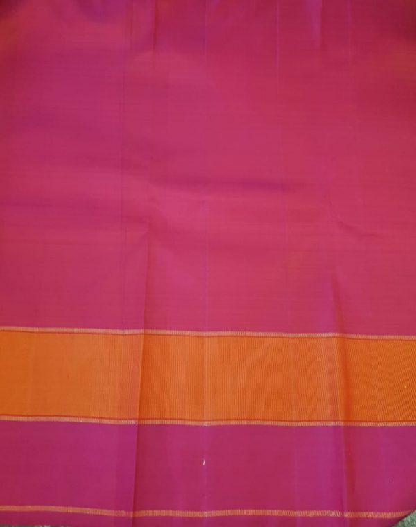 Majenta and orange checked kanchipuram silk saree3