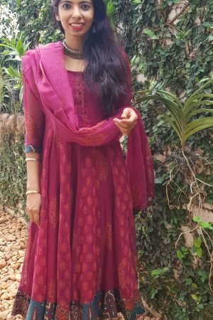 Maroon cotton kota anarkali
