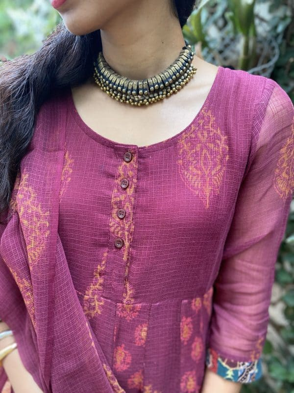 Maroon cotton kota anarkali1